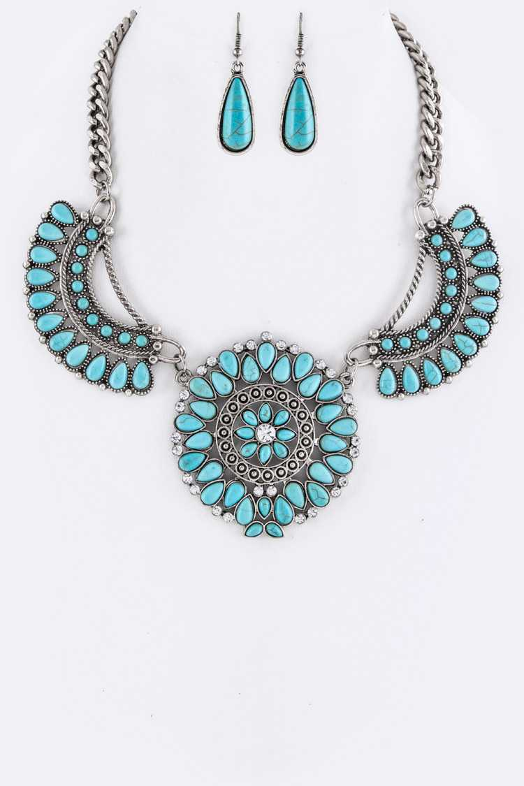 Turquoise Statement Necklace Set