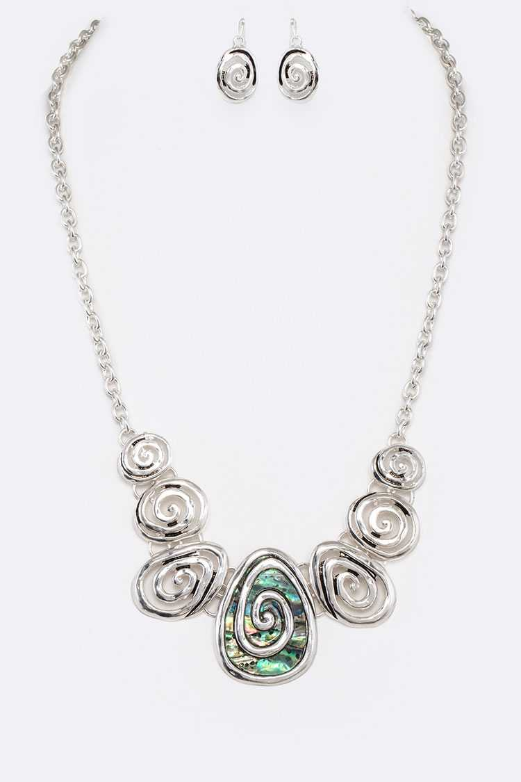 Abalone Swirl Design Statement Necklace Set