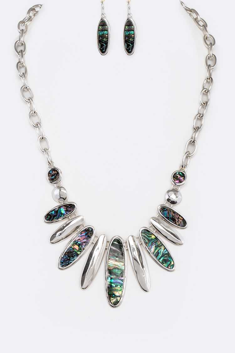 Abalone Statement Necklace Set