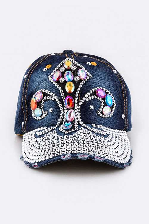 Mix Crystal Fleur De Lis Embellished Fashion Denim Cap