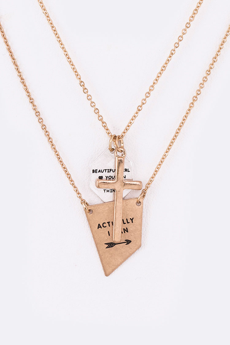 Beautiful Girl Mix Pendant Layer Necklace