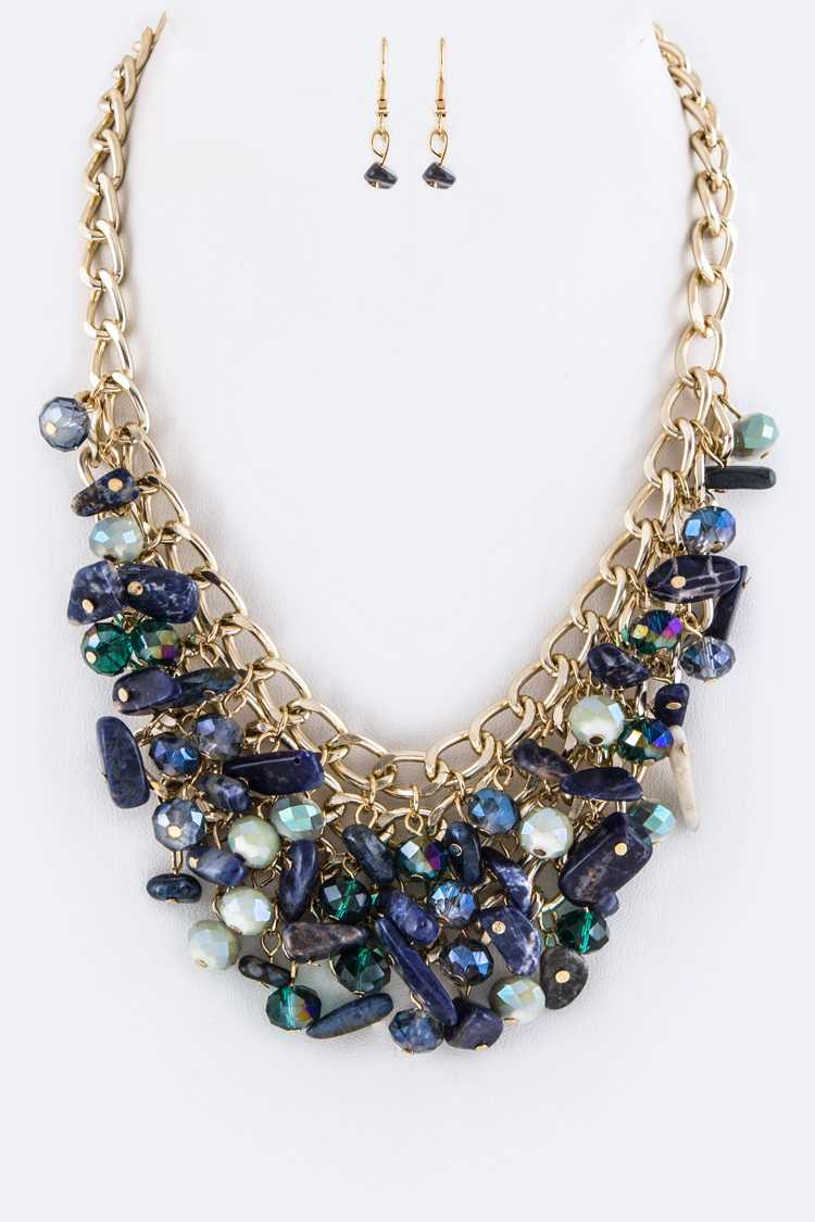 Precious Stone & Bead Statement Necklace Set