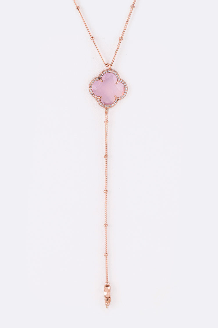 Clover Crystal Pendant Chain Drop Dainty Necklace