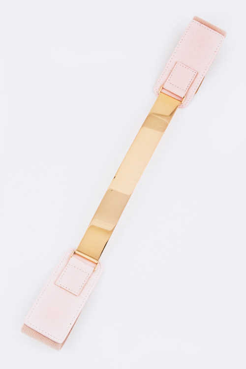 Metal Plate Stretch Leather Belt