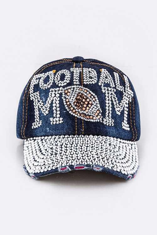 Crystal FOOTBALL MOM Embellished Fashion Denim Cap