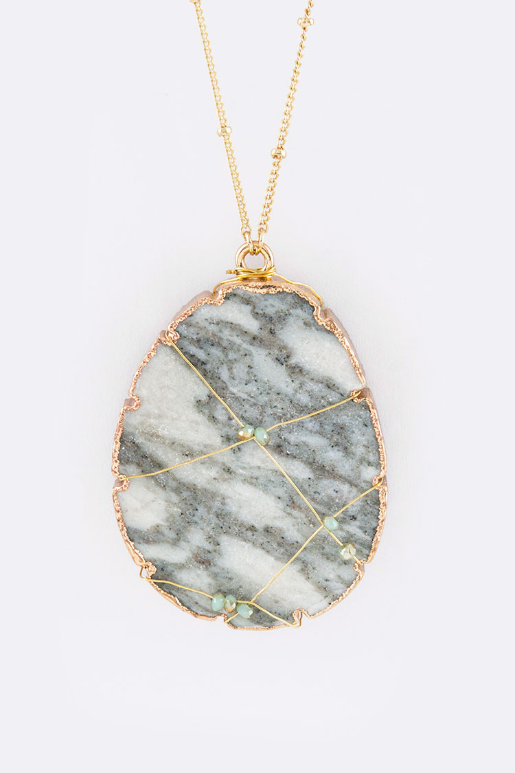 Wired Natural Stone Pendant Necklace