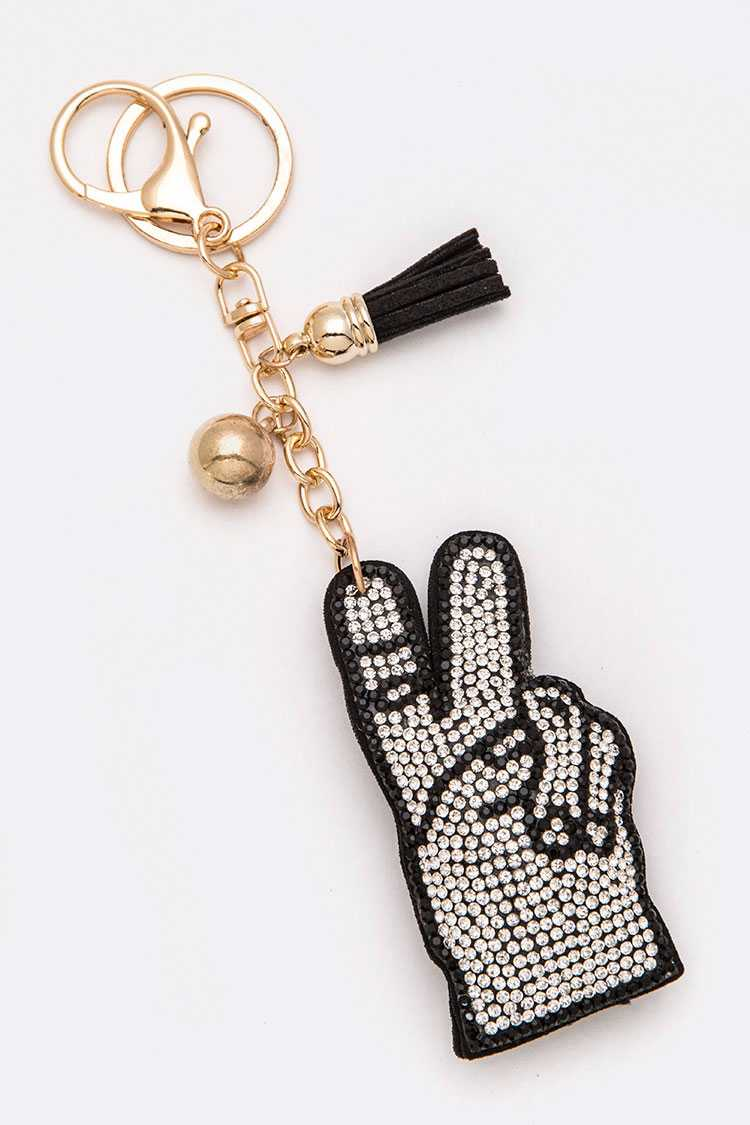 Victory Sign Crystal Key Chain
