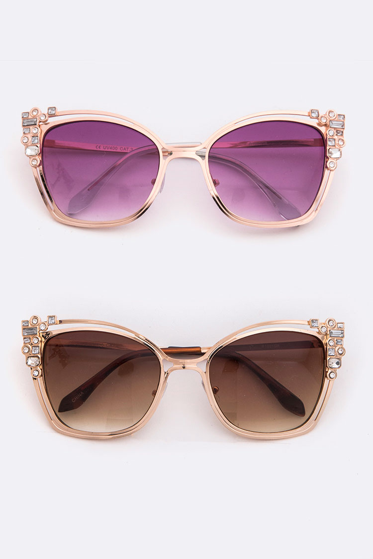 Crystal Accent Metal Rim Sunglasses