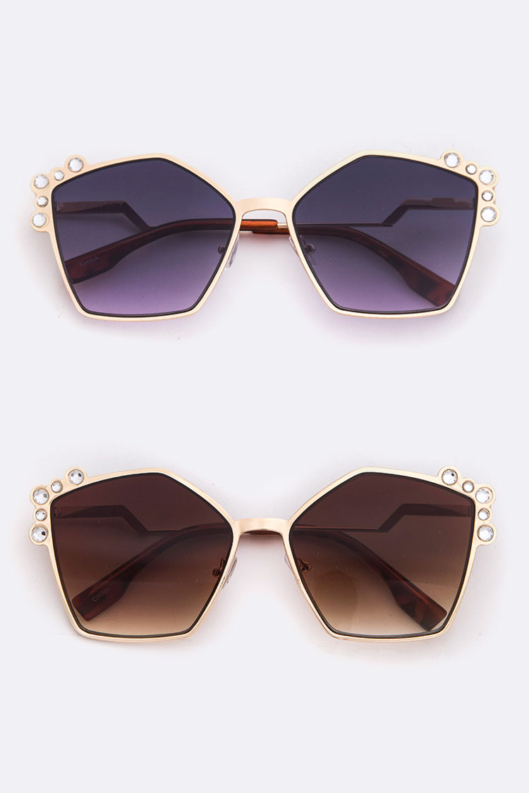 Crystal Accent Iconic Fashion Sunglasses