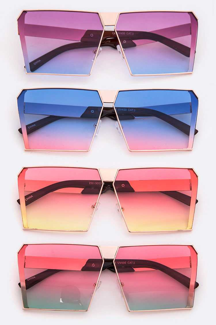 Gradient Lens Iconic Rectangular Sunglasses