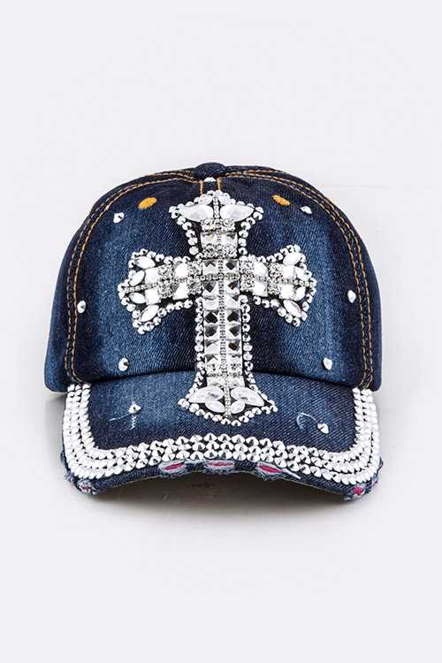 Crystal Cross Embelished Fashion Denim Cap