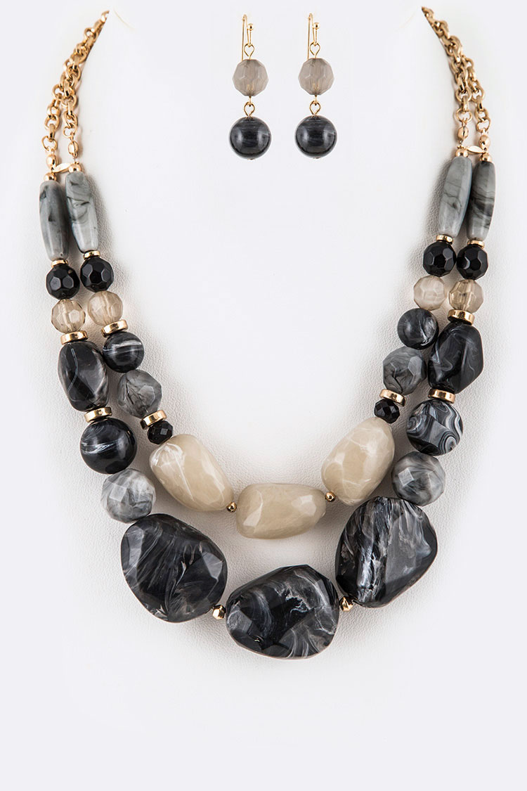 Iconic Chunky Resin Layer Necklace Set
