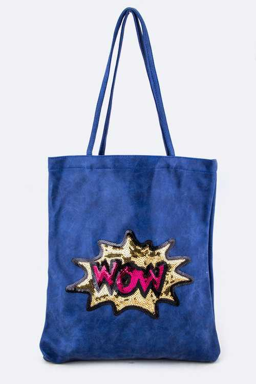 Sequins WOW Washed Leather Tote