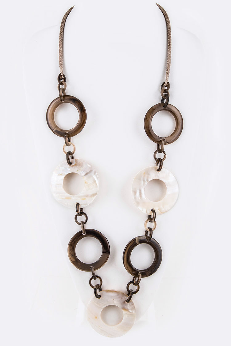 Resin & Shell Mix Hoop Iconic Long Necklace