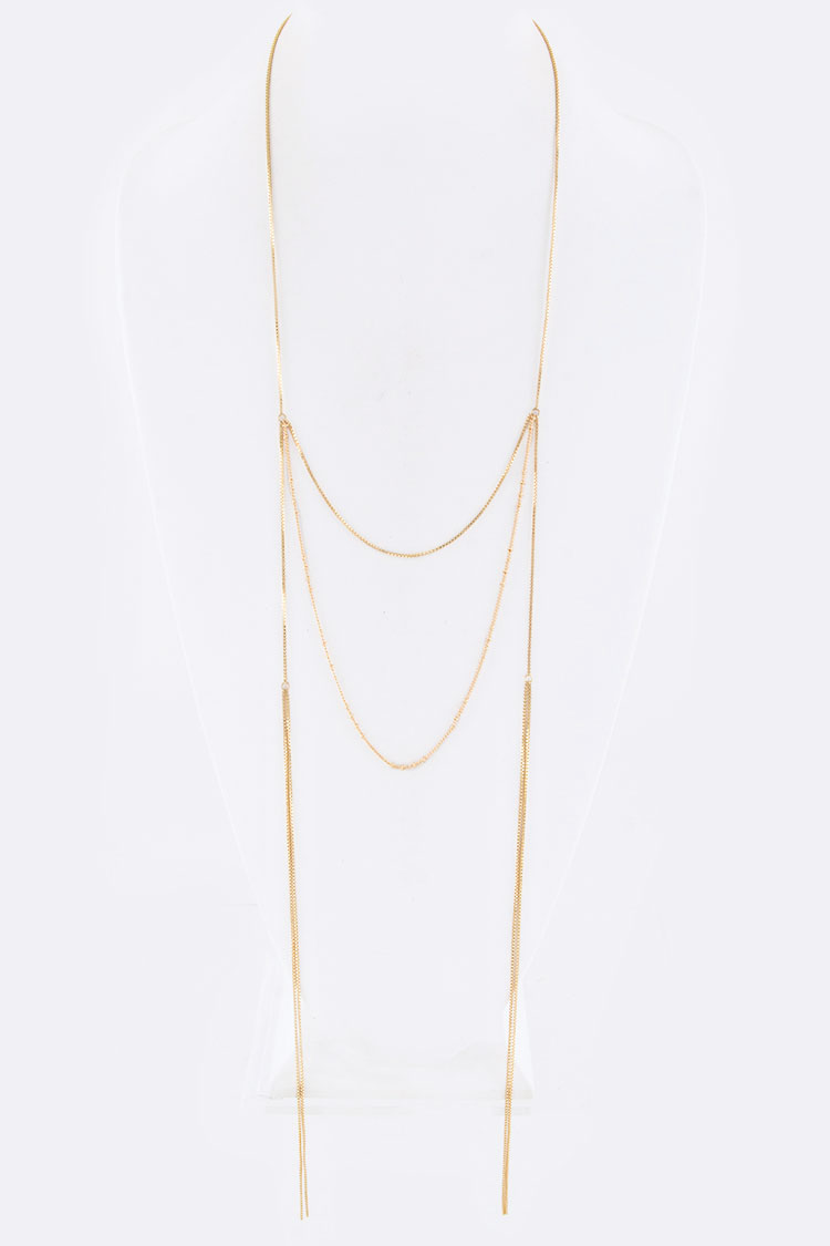 Chain Drop Layered Freestyle Necklace