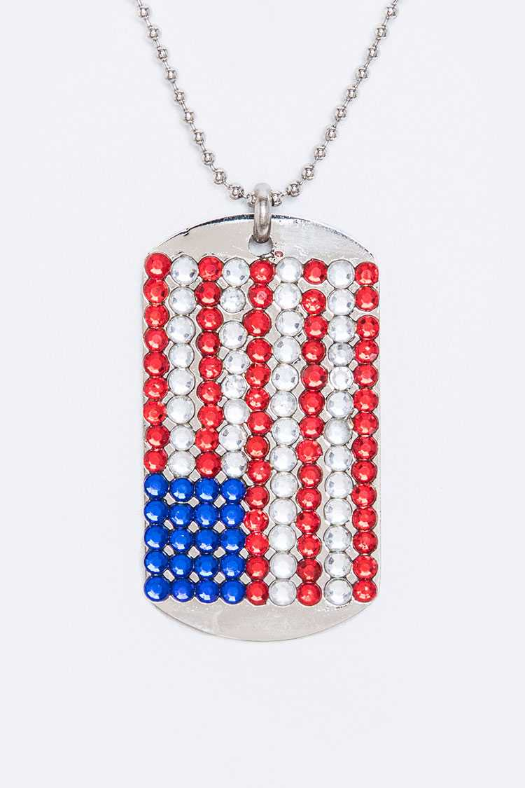 Crystal Pave U.S Flag Metal Tag Necklace