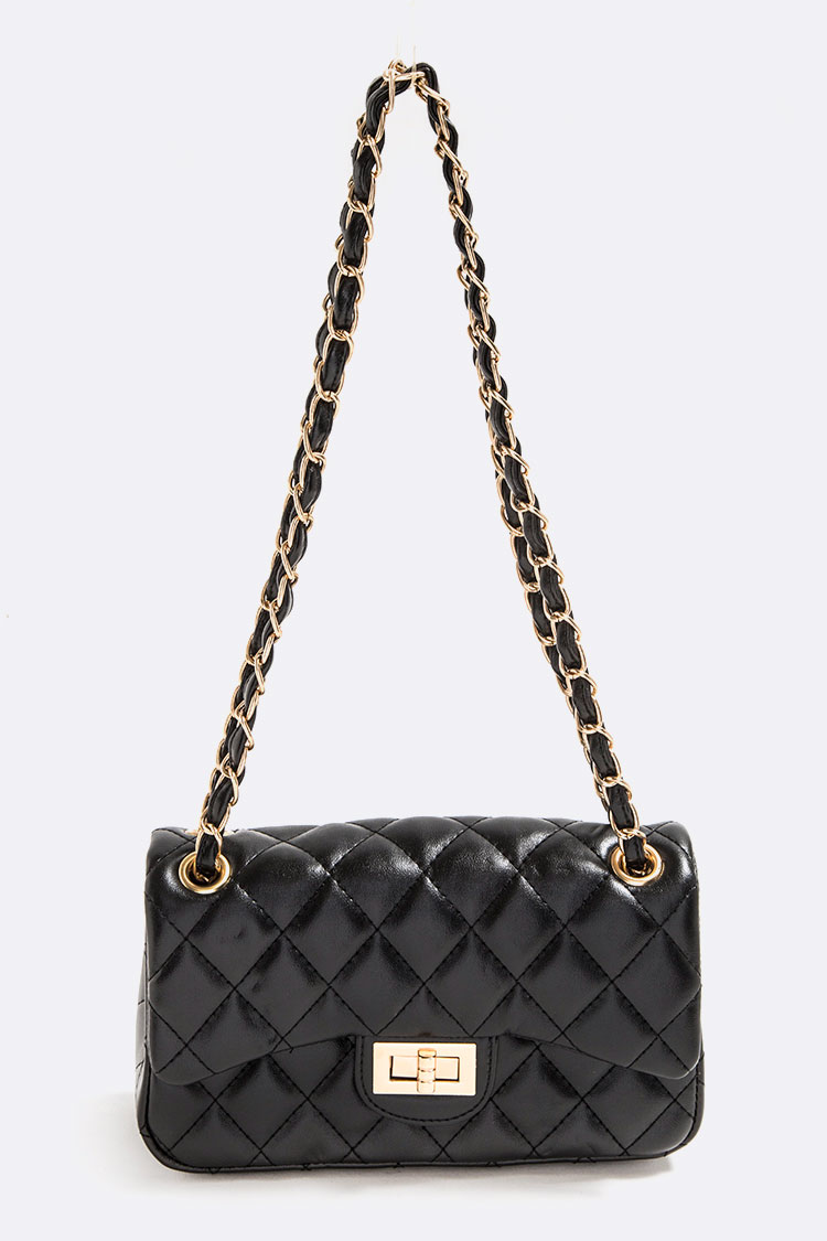Patent Quilted Twist Lock Shoulder Bag