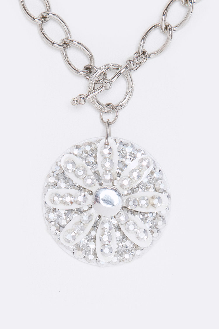 Crystal Flower Charms Toggle Necklace