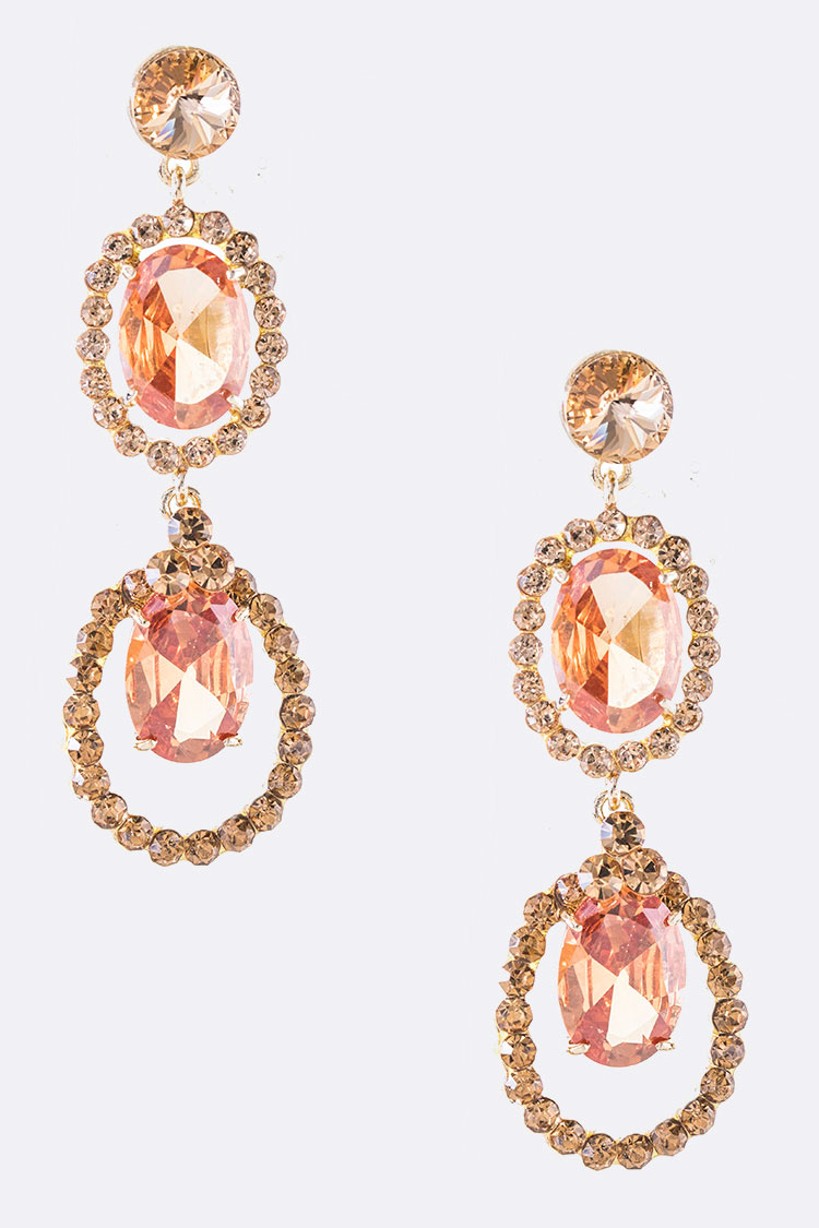 CZ Oval Drop Iconic Earrings