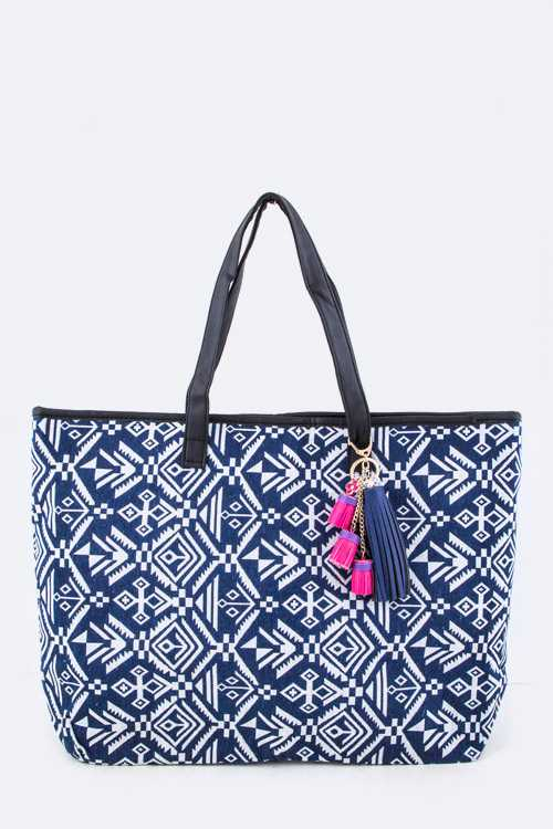 Iconic Tassels Tribal Printed Fashion Tote