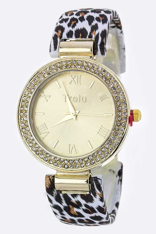 Leopard Print Crystal Bangle Watch
