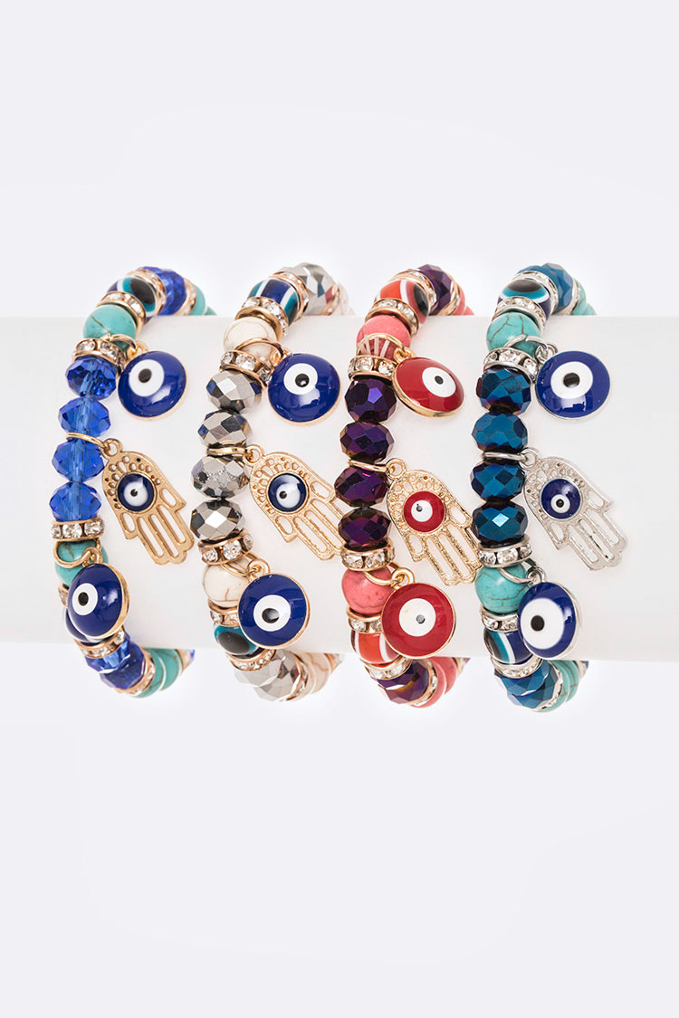 Hamsa Evil Eye Stretch Bracelet Set