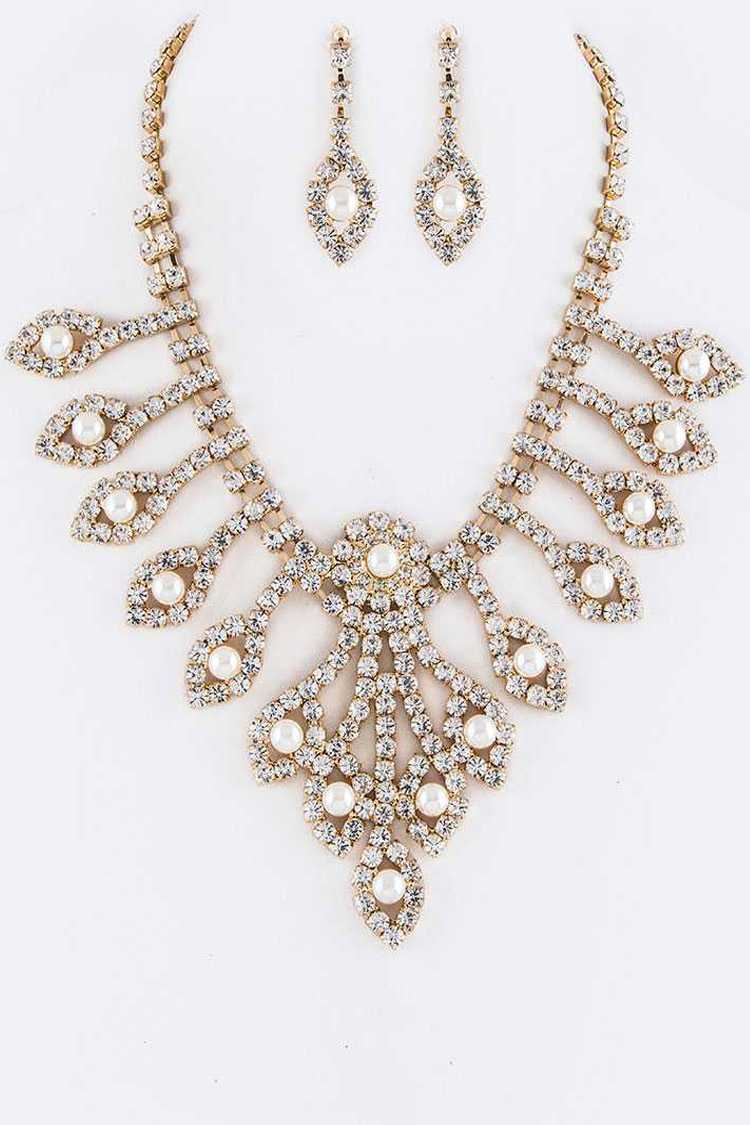 Crystal & Pearl Statement Necklace Set