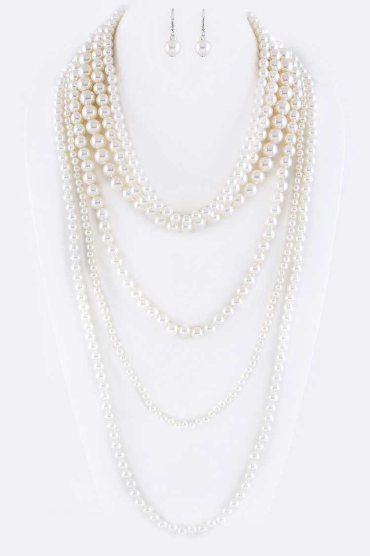 Mix Pearls Layer Necklace Set