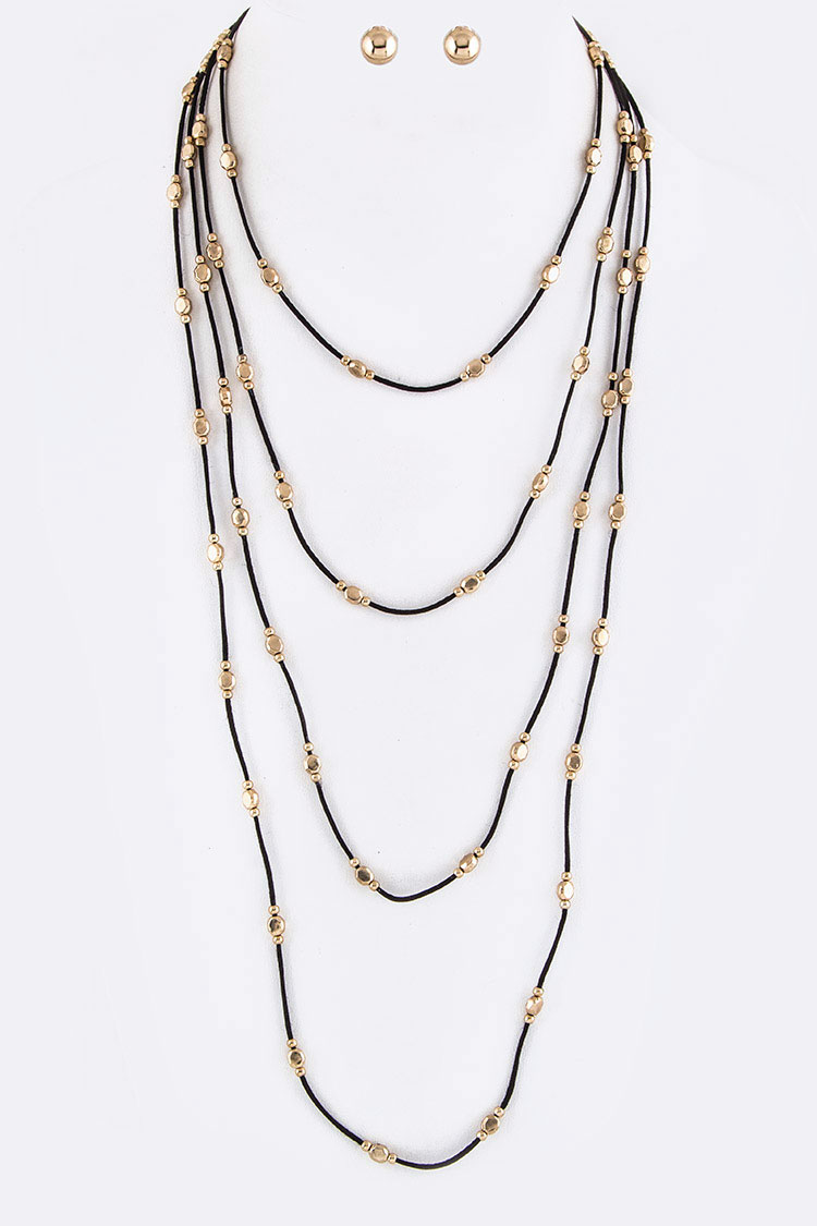 Metal Beads Layer Suede Necklace Set