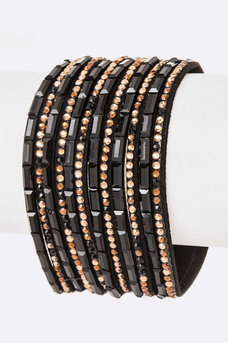 Crystal Pave Slash Magnetic Bracelet
