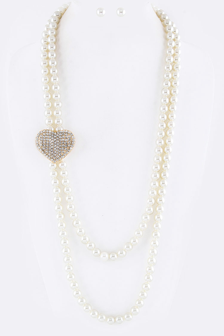 Crystal Heart & Pearl Layer Necklace