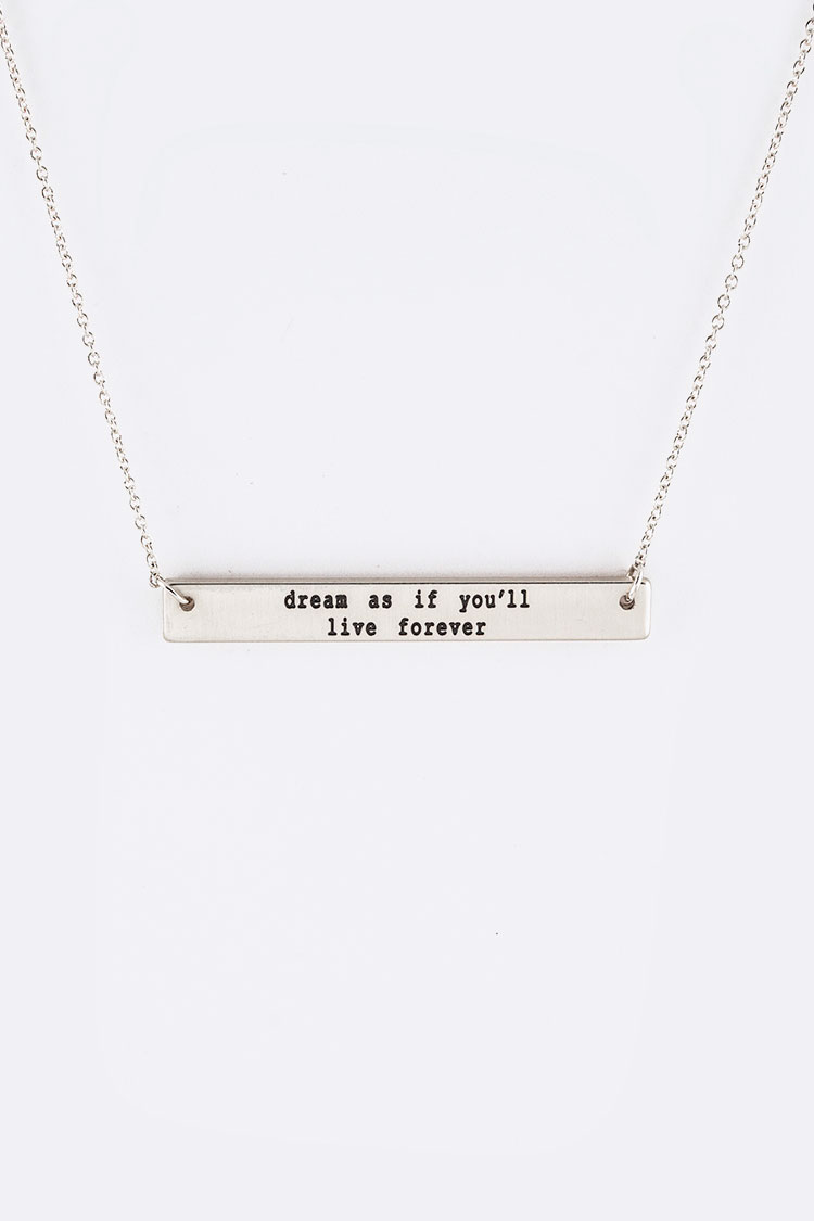 Dream Engraving Tag Necklace