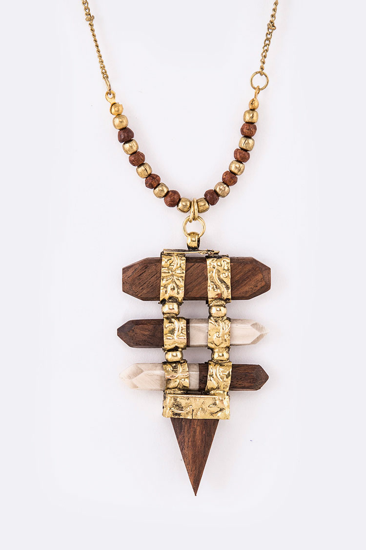 Wood & Stone Mix Media Iconic Pendant Necklace
