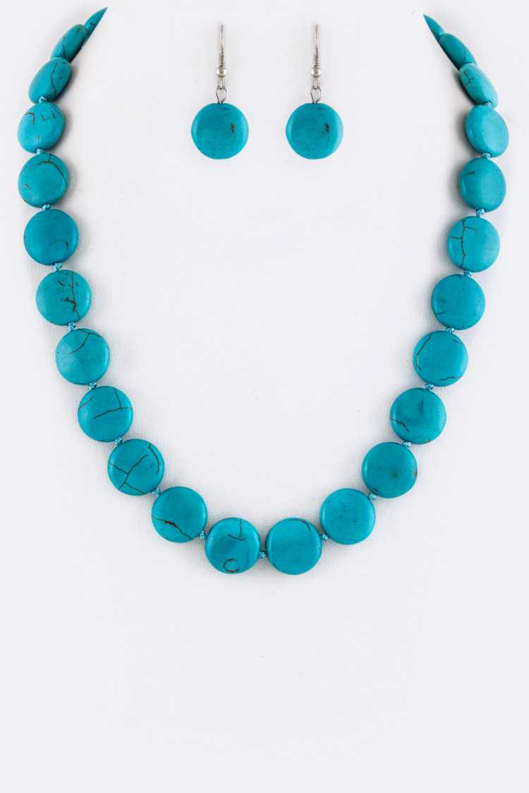 Button Turquoise Necklace Set