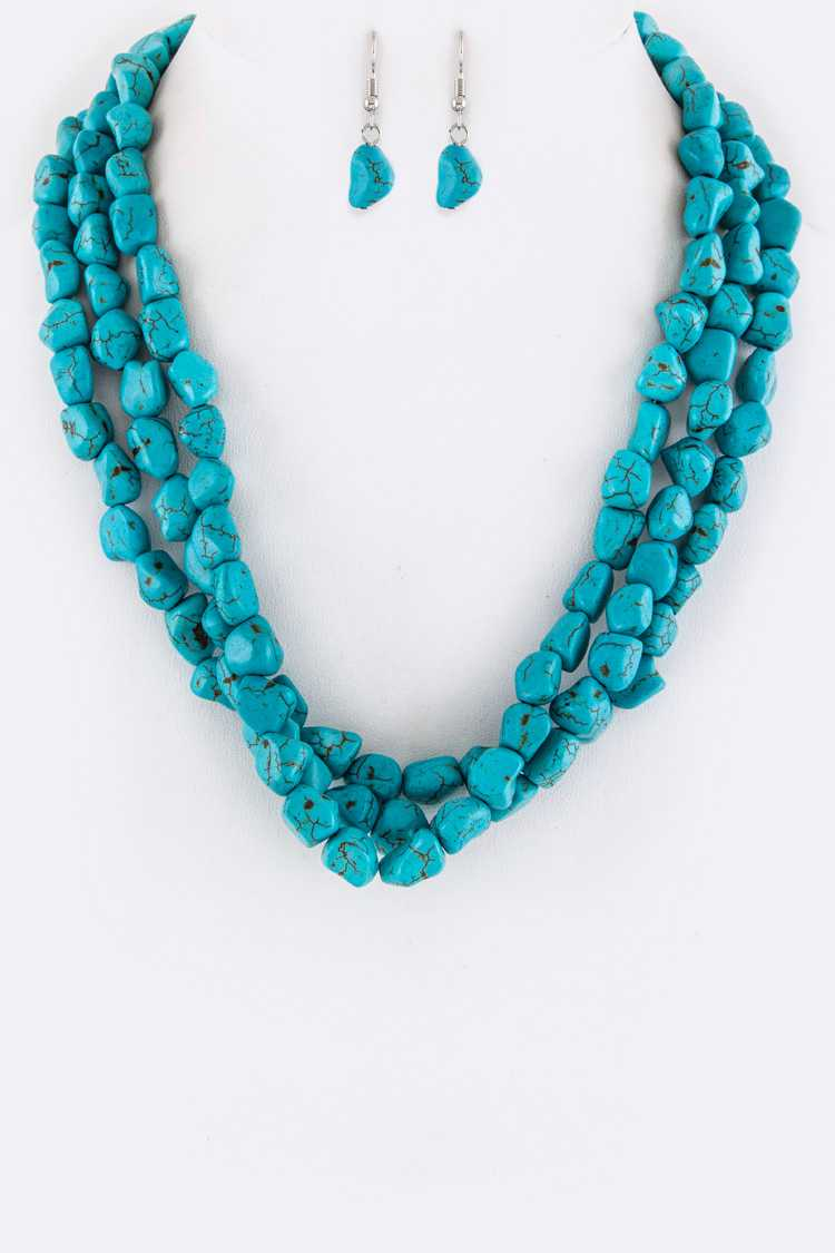 Layer Turquoise Naggets Necklace Set