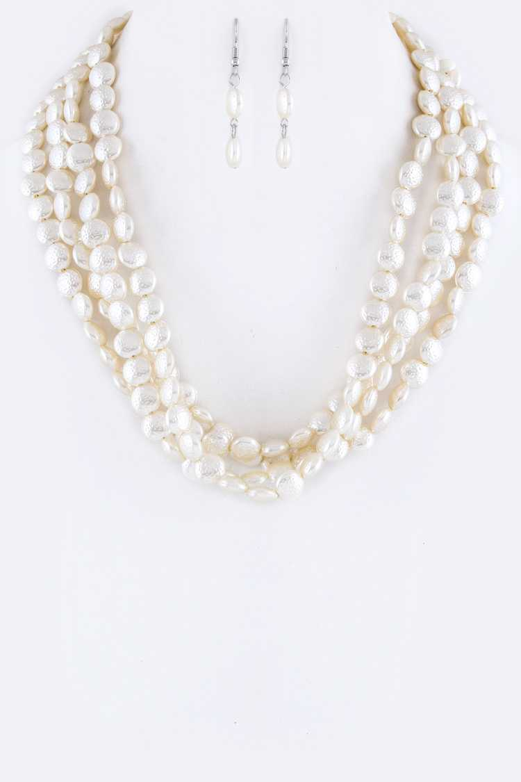 Button Pearls Layer Necklace Set