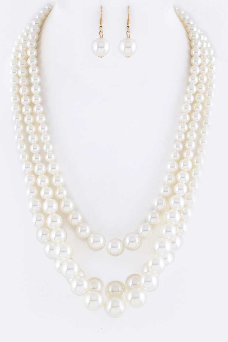 Pearls Layer Necklace Set