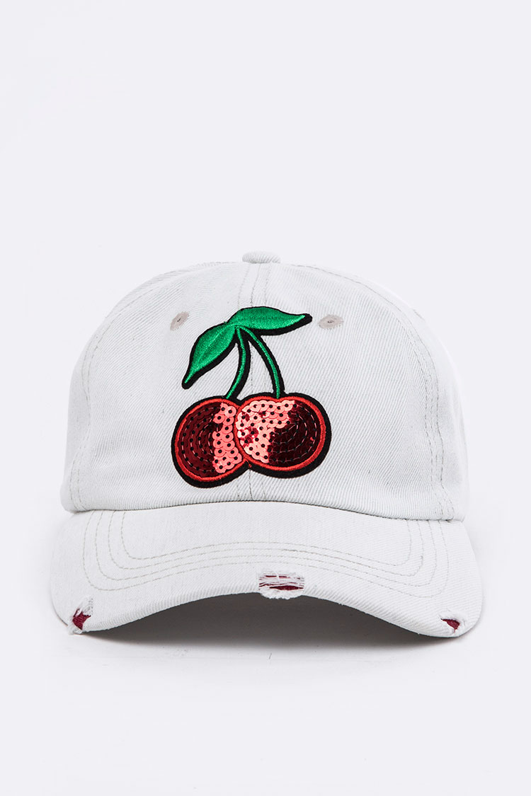Sequins Cherry Distressed Bleached Denim Cap