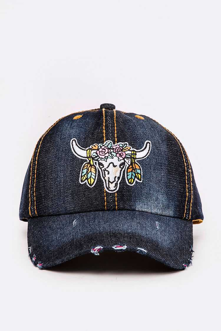 Steer Head Skull Embroidery Denim Cap