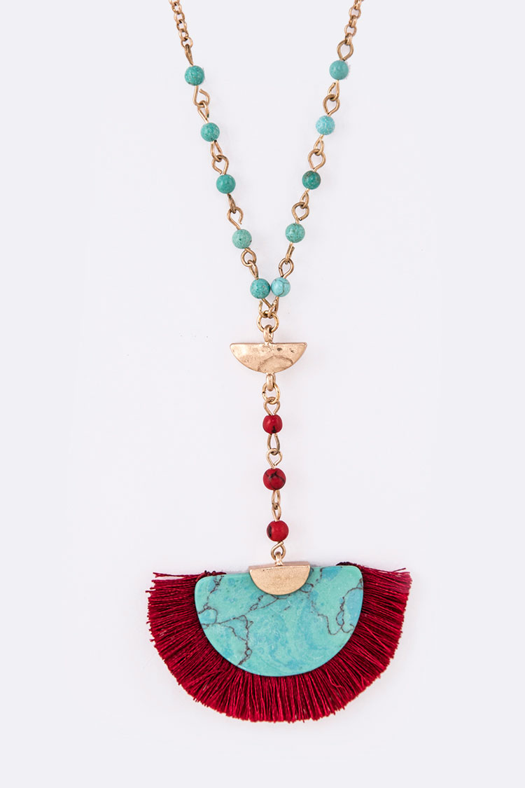Turquoise Fringe Tassel Pendant Necklace Set