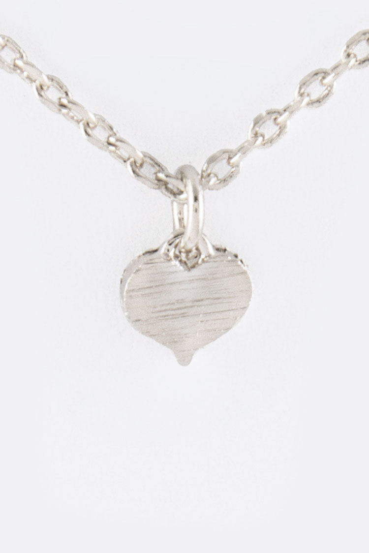 Brushed Brass Heart Pendant Necklace