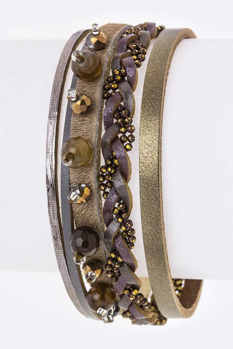 Mix Beads Layer Leather Bracelet