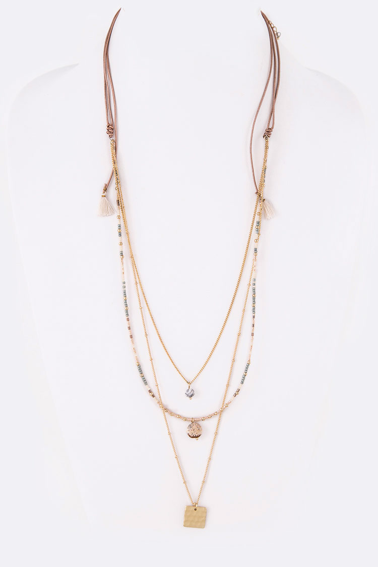 Mix Layers Draw String Convertible Necklace