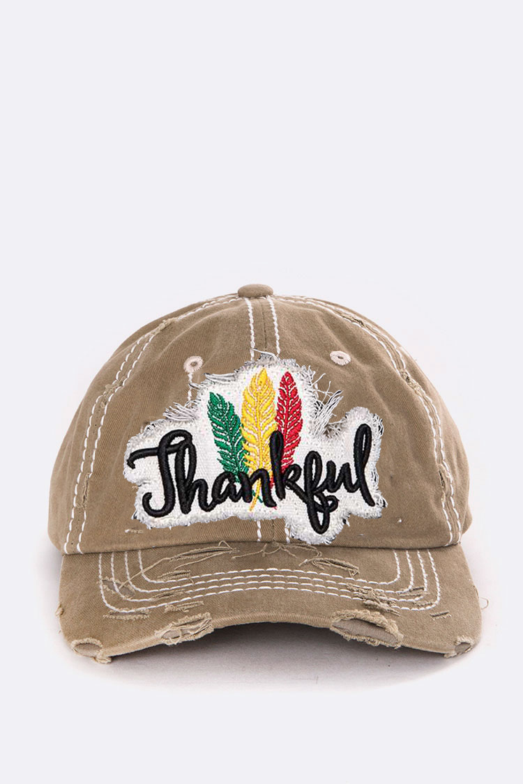 Thankful Embroidery Cotton Cap