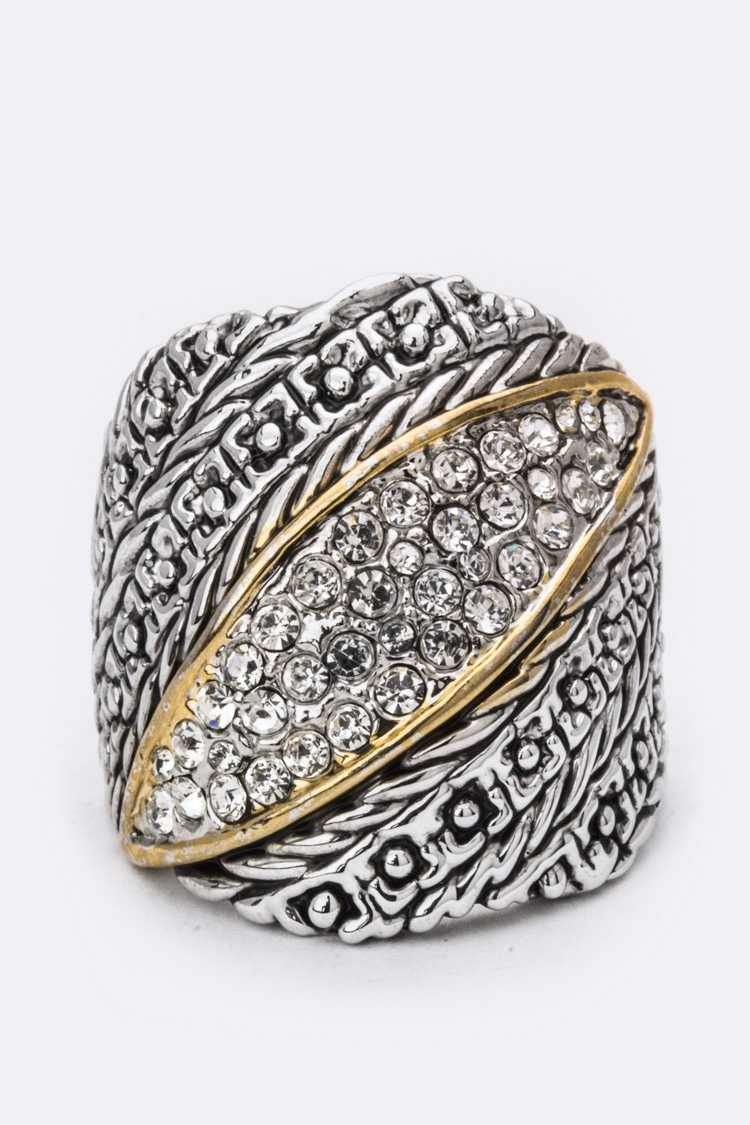 Pave Crystal Leaf Ring