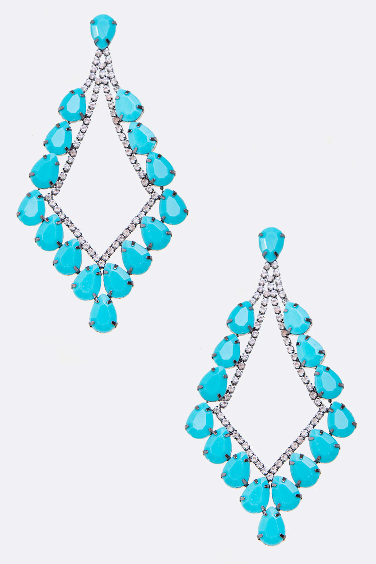 Teardrop Designed Large Drop Earrings