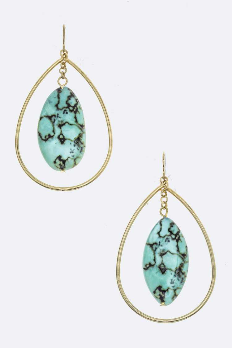 Oval Stone & Metal Teardrop Earrings