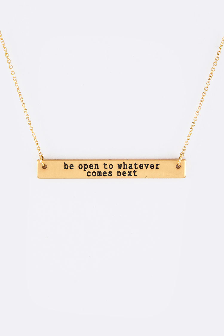Be Open Engraving Tag Necklace