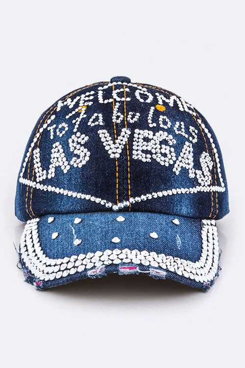 Crystal Las Vegas Embelished Denim Cap