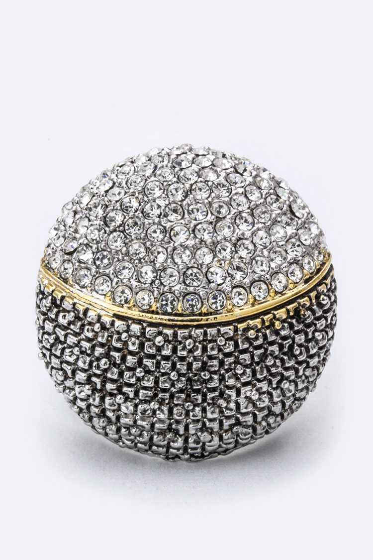 Crystal & Textured Round Ring